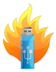Blue USB Flash Drive in Fire